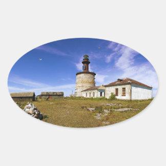 A lighthouse on the islet of Keri, Estonia Oval Sticker