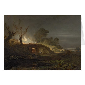 A Lime Kiln at Coalbrookdale, c.1797 (oil on panel Card