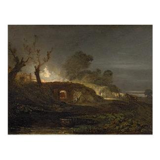 A Lime Kiln at Coalbrookdale, c.1797 (oil on panel Postcard