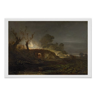 A Lime Kiln at Coalbrookdale, c.1797 (oil on panel Poster