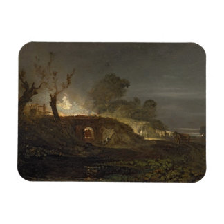 A Lime Kiln at Coalbrookdale, c.1797 (oil on panel Rectangle Magnets