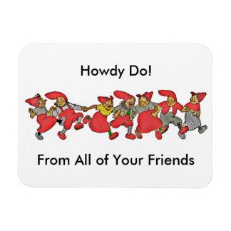 A Line of Dancing Gnomes Vinyl Magnet