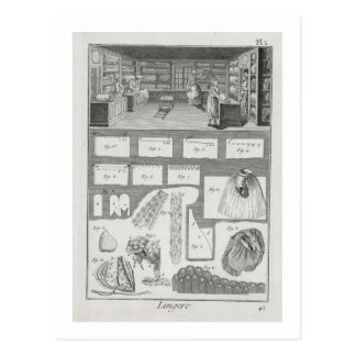 A lingerie maker's workshop and material, from the postcard