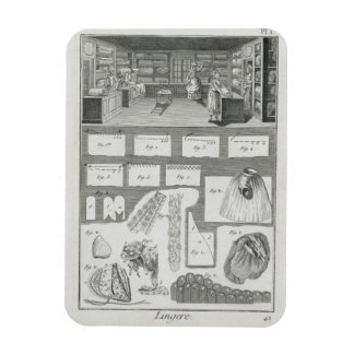 A lingerie maker's workshop and material, from the rectangular photo magnet