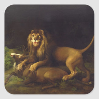 A Lion Attacking a Stag, c.1765 (oil on canvas) Square Sticker