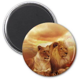 A Lion Couple on the Savannah Magnet