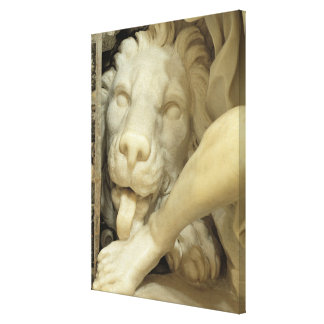 A Lion licking the foot of Daniel Canvas Print