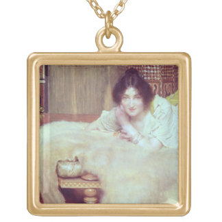 A Listener: The Bear Rug, 1899 (oil on panel) Square Pendant Necklace