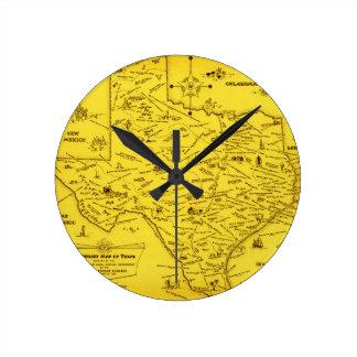 A Literary map of Texas (1955) Round Wall Clocks