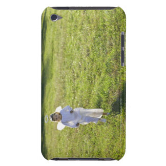 A little angel skips toward the viewer in a iPod touch case