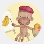 A Little Artist Socky the Sock Monkey Sticker