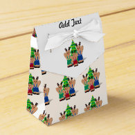 A Little Beary Reindeer Trio with Christmas Tree Favor Boxes