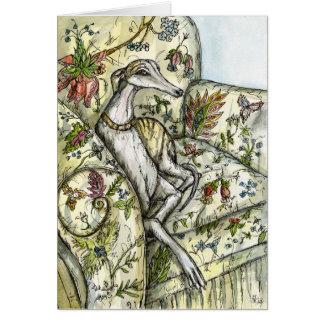 A Little Becoming- Whippet Art Illustration Card