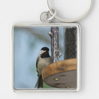 A little bird told me... Silver-Colored square keychain