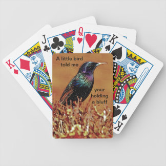 A Little Bird Told Me Starling Bird Photograph Bicycle Playing Cards