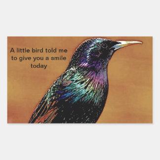 A Little Bird Told Me Starling Bird Photograph Rectangle Sticker
