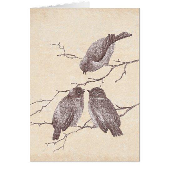 A Little Bird Told Me: Winter Birds Antique Sketch Card