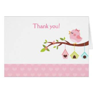 A Little Birdie (Pink) Birthday Thank you Card