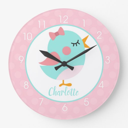 A Little Birdie Pink/Teal Add a name Clock