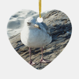 """""""A Little Birdie Told Me That...."""" Template Double-Sided Heart Ceramic Christmas Ornament"""