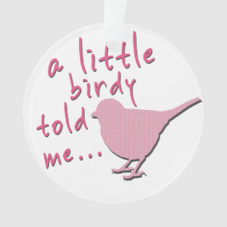 A Little Birdy Told Me Circle Ornament (pink)