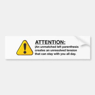 A little bit about parenthesis bumper sticker