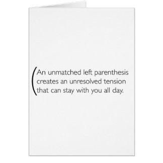 A little bit about parenthesis card