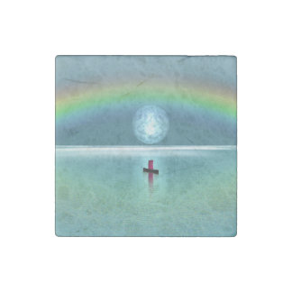 A little boat in the ocean with moon and rainbow stone magnet
