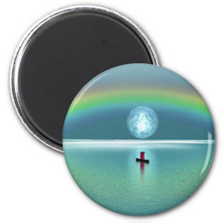 A little boat in the ocean with moon and rainbow fridge magnet