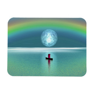 A little boat in the ocean with moon and rainbow magnet