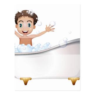 A little boy at the bathtub post cards