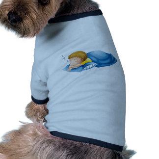 A little boy sleeping doggie tee shirt