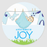 A Little Bundle of Joy | Typography Baby Shower Classic Round Sticker
