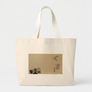 A little cuckoo across a hydrangea (Haiga) by Yosa Large Tote Bag