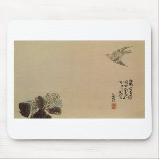 A little cuckoo across a hydrangea (Haiga) by Yosa Mouse Pad