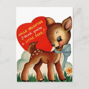 A Little Deer   Vintage Valentine   Postcard