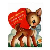 A Little Deer   Vintage Valentine   Postcard