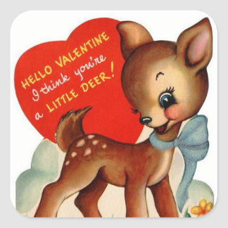 A Little Deer | Vintage Valentine | Square Sticker