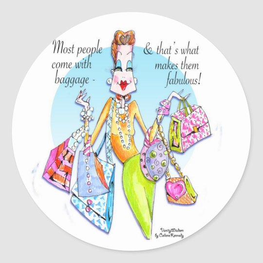 A little Fab' Baggage! Classic Round Sticker