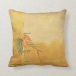 A Little Finch On A Perch Throw Pillow
