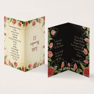 A Little Flowered Wedding Table Card Folded