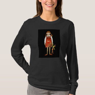 A little girl and toy rabbit on a black background T-Shirt