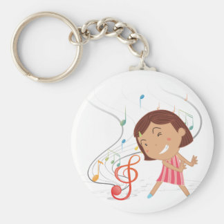 A little girl dancing with musical notes basic round button keychain