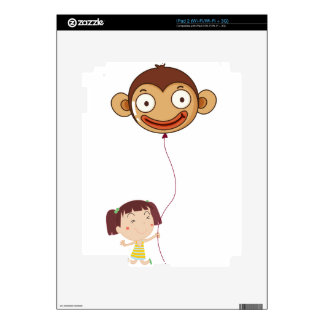 A little girl holding a monkey balloon skin for iPad 2
