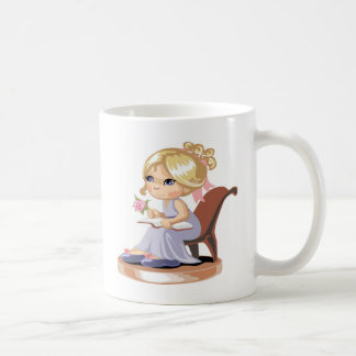 A little girl in a blue nightgown coffee mug