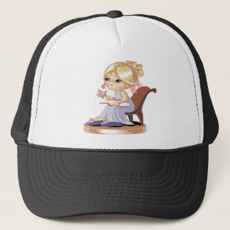 A little girl in a blue nightgown trucker hat