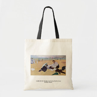 A Little Girl On The Beach Is Combed By His Nurse Canvas Bags
