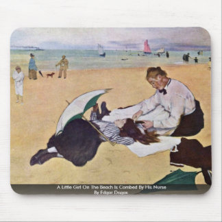 A Little Girl On The Beach Is Combed By His Nurse Mouse Pads