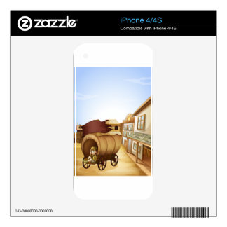 A little girl sitting in the wooden carriage iPhone 4 decal