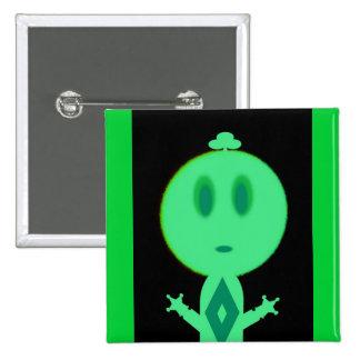 A Little Green Man Pinback Button